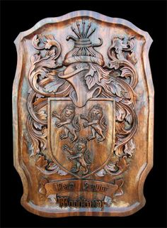 Custom Carved Family Coat of Arms with Lions Wood Carving Patterns, Wood Carving Art, Wood Art, Medieval, Woodworking Skills, Family Crest, Acanthus, Crests, Wood Sculpture