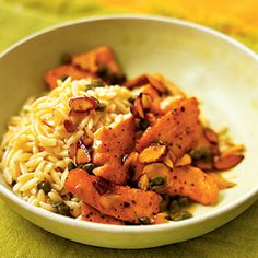 Salmon Scallopini with Almond Orzo - Almonds and salmon are a great source of healthy fats, and almonds help you feel fuller longer. Try using SmartBalance instead of butter to cut back on unhealthy saturated fat. Salmon Orzo Recipe, Baked Salmon Recipes, Orzo Recipes, Fish Recipes, Seafood Recipes, Seafood Dishes, Fish And Seafood, Fish Dishes, Restaurants
