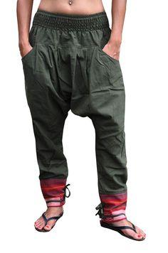 Bonzaai Women's Harem Pants Alternative Pants Deep Cut Pants Naturgetreu Green
