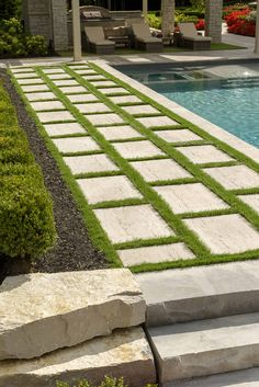 Seeking the luxury look of Travertine stone for your Patio Slabs? Check out Travertina Raw Slabs, made out of concrete and more resistant than porous natural Travertine. Backyard Pool Designs, Swimming Pool Designs, Backyard Landscaping, Swimming Pools, Terrace Garden, Garden Pool, Tropical Garden, Patio Slabs, Patio Stone