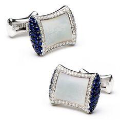 Sapphire & Diamond Mother of Pearl Pillow Cufflinks