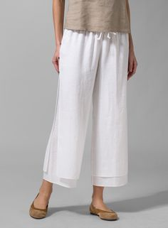 MISSY Clothing - Linen Double-Layer Cropped Pants With Sea Shell Button