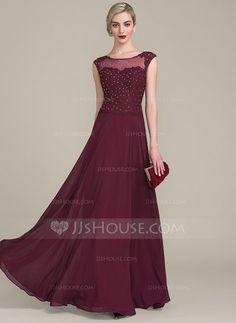 [US$ 146.99] A-Line/Princess Scoop Neck Floor-Length Chiffon Lace Mother of the Bride Dress With Beading Sequins