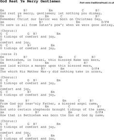 Christmas Songs and Carols, lyrics with chords for guitar banjo for God Rest Ye Merry Gentlemen