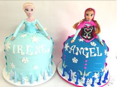 Frozen Cake - Elsa & Anna! Learn how to make a frozen doll cake here - http://youtu.be/6UCCDBntXUo
