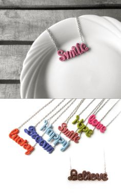 Smile Necklace Word Pendant, Inspirational Friendship Necklace, Marsala Pantone Color 2015 by vanessahandmade on Etsy https://www.etsy.com/listing/128139856/smile-necklace-word-pendant Cute Crochet, Crochet Crafts, Yarn Crafts, Crochet Projects, Cosas A Crochet, Crochet Accessories, Armband, Marsala, Crochet Clothes