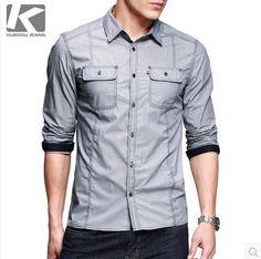 เสื้อเชิ้ต แฟชั่นผู้ชายผ้าคอตตอนโทนสีเทาเดินเส้น แต่งกระเป๋าอก http://www.sunday17.com/product/1045