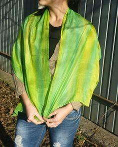 green a silk scarf by tothajhsa on Etsy