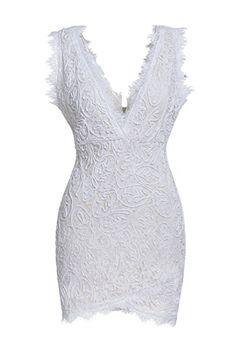 ZKESS Women's Sleeveless Lace Party Club Mini Dress XXL Size White