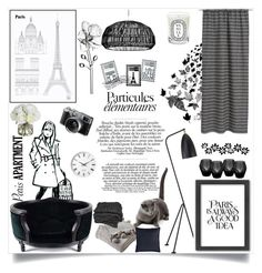"""Paris chic black and white apartment !"" by azzra ❤ liked on Polyvore featuring interior, interiors, interior design, home, home decor, interior decorating, Lord Lou, H&M, Dot & Bo and Americanflat"