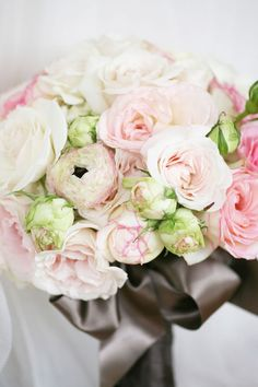 love this bouquet with pink and green-tinged roses and peonies. #flowers