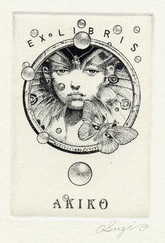 BOOKPLATE: Artist Ichibun Sugimoto. Ex Libris, Coffee And Books, Vintage Comics, Printmaking, Tarot, Love Book, Book Lovers, Illustration Art, Prints