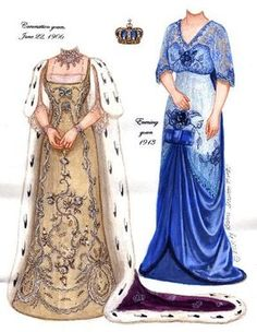 QUEEN MAUDE OF NORWAY ~ Ƹ̴Ӂ̴Ʒ ~ Princess Maude was the youngest daughter of Edward VII. She and husband Carl became King and Queen of Norway in 1906. This paper dolls features highlights from her vast surviving wardrobe. I actually got to see it in person at the Victoria and Albert museum in London. from ROYALTY Paper Dolls by Brenda Sneathen Mattox