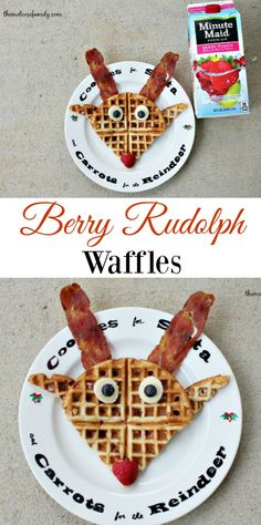 Berry Rudolph Waffles - Good general idea for Christmas morning breakfast - The Nymel Rose Family Christmas Goodies, Christmas Treats, Christmas Baking, Holiday Treats, Holiday Recipes, Holiday Foods, Merry Christmas, Christmas Recipes, Xmas