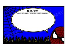 Spiderman Inspired Thank You Note by LittleShoppeOfWhimsy