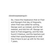 Fred and George switching places