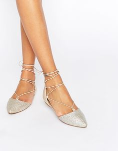 silver lace-up ghillie flats