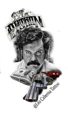 Don Pablo Escobar, Pablo Emilio Escobar, Black And Grey Sleeve, Black And Grey Tattoos, Tattoo Design Drawings, Tattoo Sketches, Theater Mask Tattoo, Chicanas Tattoo, Astronomy Tattoo