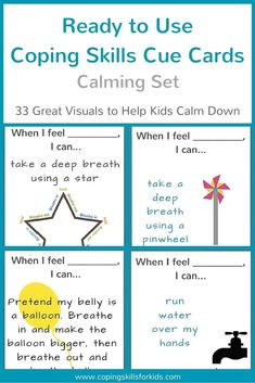 Looking for great visuals to help kids calm down? Here are 33 ready to use cue cards. You can laminate them to make them sturdy. These are perfect for a calm down spot at home or a quiet space in the classroom. Visit http://www.copingskillsforkids.com tod