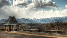 Tea House And Snow Covered Mountains By Carol R. Montoya #mountains #TeaHouse #clouds