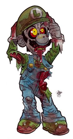 Zombie art video game characters of the living dead : luigi graffitis, macabro, arte Zombie Cartoon, Zombie Art, Cartoon Art, Zombie Drawings, Dark Drawings, Arte Horror, Horror Art, Creepy Disney, Disney Horror
