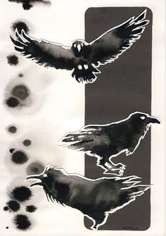 "myrntai: "" Ink Ravens for Joniina, she caught my 23000th pageview at DeviantArt. """