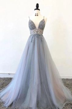 Gray v neck tulle long prom dress, gray tulle evening dress - Long Sleeve Gold Prom Dresses,Long Evening Dresses,Prom Dresses On Sale Want a glamorous red carpet look for a fraction of the price? This exquisite dress would be perfect as Grey Evening Dresses, Grey Prom Dress, Sparkly Prom Dresses, Pretty Prom Dresses, Beaded Prom Dress, Sweet 16 Dresses, Elegant Dresses, Sexy Dresses, Wedding Dresses