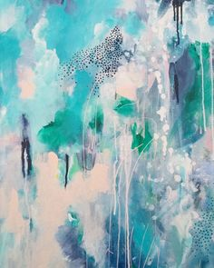 Modern / contemporary Abstract art in blues, green and soft pastel pink. Great print pair for the bedroom or living room. By Australian artist Kate Fisher.