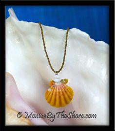 "Classic Pink & Yellow Hawaiian Sunrise Shell & Puka Shells ""Country Style"" Necklace!"