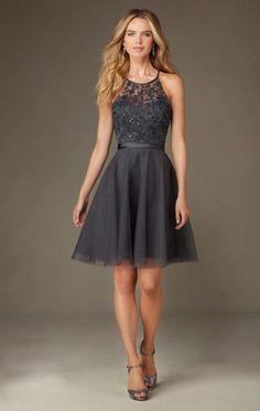 Designer Gray Short Bridesmaid Dress BNNCL0011