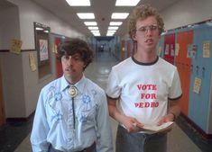 "[help] this shirt Pedro wears in ""Napoleon Dynamite"" Napoleon Dynamite Costume, Napoleon Dynamite Pedro, Jon Heder, High School Movies, Movie Schedule, Hollywood, Halloween Disfraces, Cosplay, Cultura Pop"