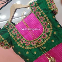 No photo description available. Cutwork Blouse Designs, Wedding Saree Blouse Designs, Half Saree Designs, Simple Blouse Designs, Stylish Blouse Design, Blouse Neck Designs, Dress Designs, Hand Work Blouse Design, Instagram