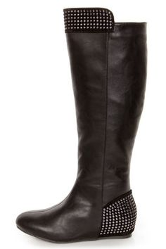 Promise Ermina Black Knee High Studded Riding Boots