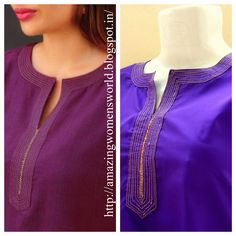 ROUND NECK SIMPLE ZARI EMBROIDERY WORK