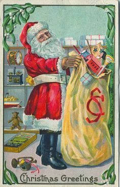 Vintage Christmas greetings. I love the toys - house, doll... drums and a trumpet. I bet those were happy parents - thanks a lot santie.