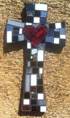 Medium Mosaic Black and White Cross by DeniseMosaics on Etsy