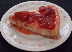 Cheesecake com Calda de Morango - Na Biroskinha
