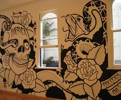 Tattoo inspired wall art-we're going to do a graffiti wall in our bedroom, and something like this would be awesome!