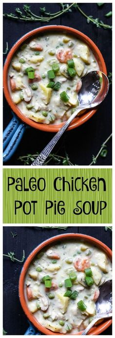 Added to Meal Rotation Paleo Chicken Pot Pie Soup. All the tastes of comforting pot pie, but no grains and no dairy. This simple recipe is delicious and healing! Chicken Pot Pie Soup Recipe, Chicken Dips, Creamy Chicken, Paleo Chicken Soup, Chicken Potpie, Paleo Chicken Recipes, Paleo Meals, Healthy Chicken, Soup Recipes