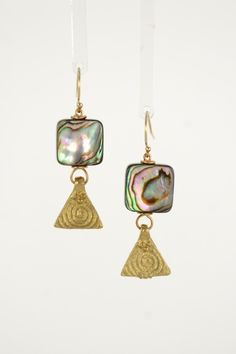 Abalone Square Brass Gold Earrings | Sonia Lub | Handmade intentional eco-friendly jewelry