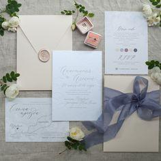 Letterpress, blind press printing. Modern calligraphy wedding stationery (invitation, dress code, direction card)