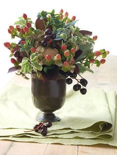 Pretty little fall centerpiece with hypericum berries.