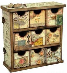KaiserCraft Mini Drawers, bet I can make these cheaper than they will ship them! Decoupage Furniture, Decoupage Box, Furniture Projects, Rustic Furniture, Painted Furniture, Craft Projects, Wood Crafts, Diy And Crafts, Paper Crafts