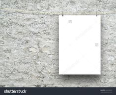 #Blank #frame with #peg on #grey #aged #concrete #wall #background