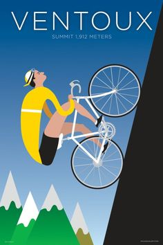 This cycling poster celebrates Mont Ventoux, one of the classic big climbs of the Tour de France and a battleground for King of the Mountain showdowns. Graphisches Design, Bike Design, Graphic Design, Cycling Art, Cycling Bikes, Cycling News, Velo Biking, Bike Deals, Velo Retro