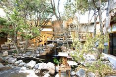 Ten Thousand Waves Japanese Spa and Resort in Santa Fe features waterfalls, outdoor soaking tubs, and overnight lodging.