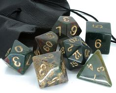 Dwarven Stones - 14mm Bloodstone d20 set - 14mm dice set, solid Bloodstone, a lustrous dark green with gold numbers. Naturally, these dice are heavy for their size - a really nice set. for �29.00   Postage
