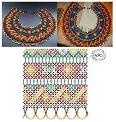 Foto Natali Khovalko Beading Patterns Free, Bead Loom Patterns, Beading Tutorials, Diy Necklace Patterns, Beaded Jewelry Patterns, Seed Bead Jewelry, Jewelry Making Beads, Bead Loom Bracelets, Fabric Beads