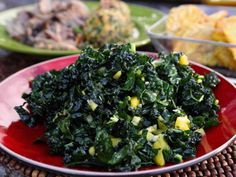 Kale Salad with Mango Vinaigrette Recipe : Guy Fieri : Food Network Easy Salads, Healthy Salads, Healthy Eating, Healthy Recipes, Mango Recipes, Kale Recipes, Burger Recipes, Healthy Cooking, Healthy Foods