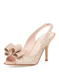 KATE SPADE Charm Glittered Bow Slingback, Rose Gold. #katespade #shoes #